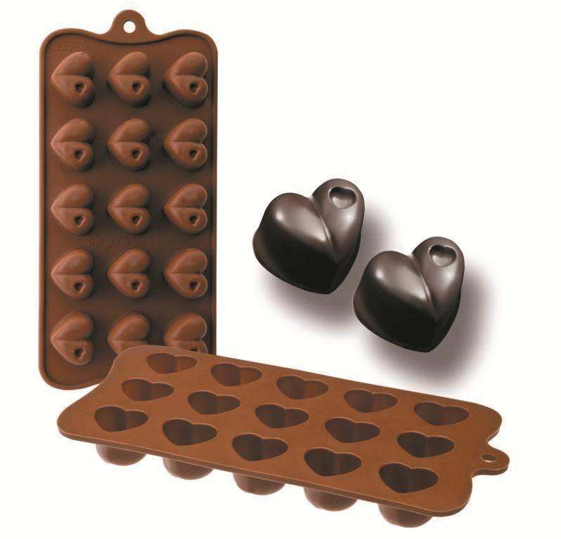 Formičky na čokoládu srdce 10,5x21cm Ibili