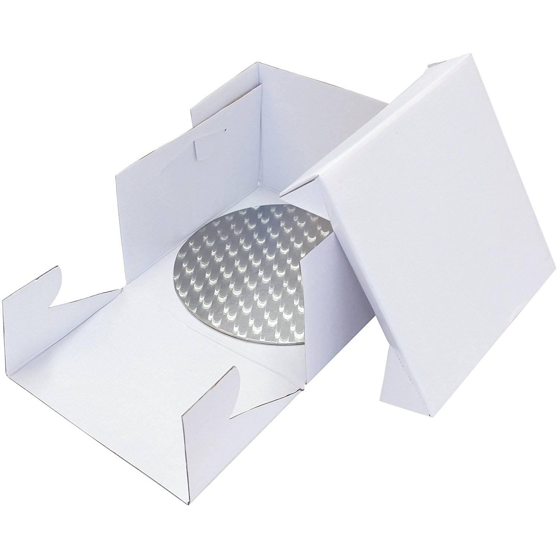 Podložka dortová stříbrná kruh + dortová krabice 10 PME