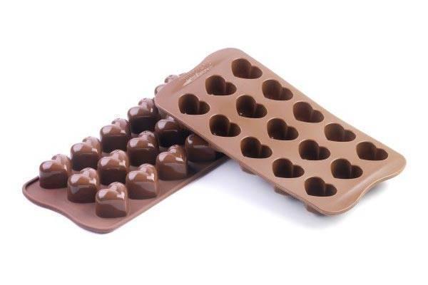 Silikonová forma na čokoládu a led – srdce Silikomart