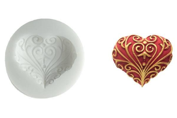 Silikonová forma na fondán- srdce Silikomart
