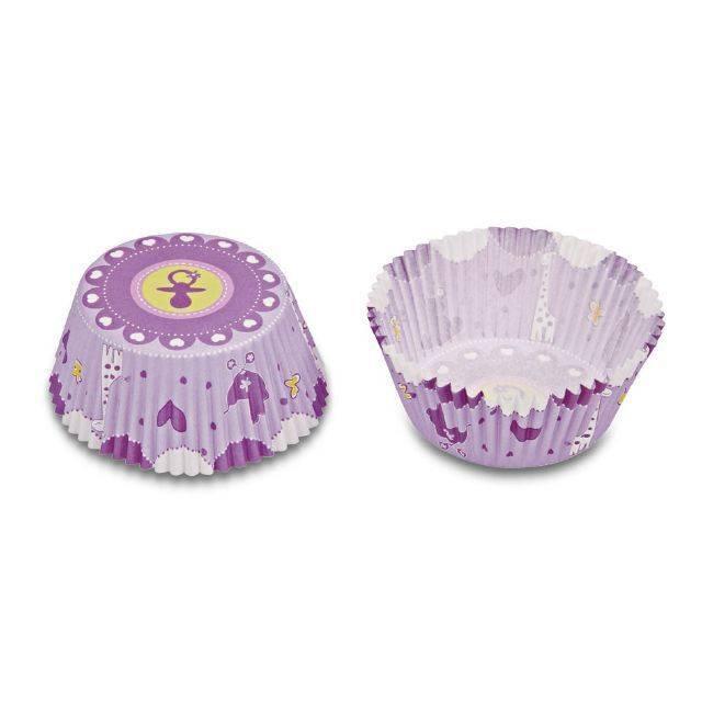 Papírové pečicí formičky - dětský potisk lila Stadter