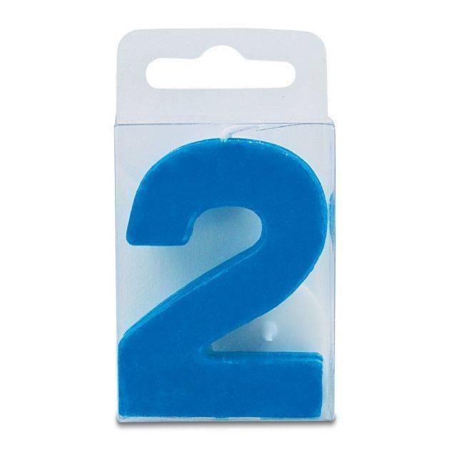 Svíčka ve tvaru číslice 2 - mini, modrá Stadter