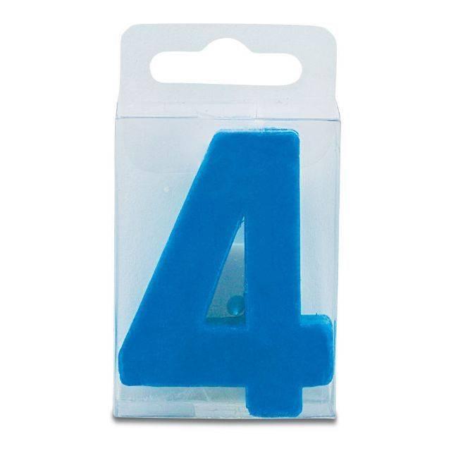 Svíčka ve tvaru číslice 4 - mini, modrá Stadter
