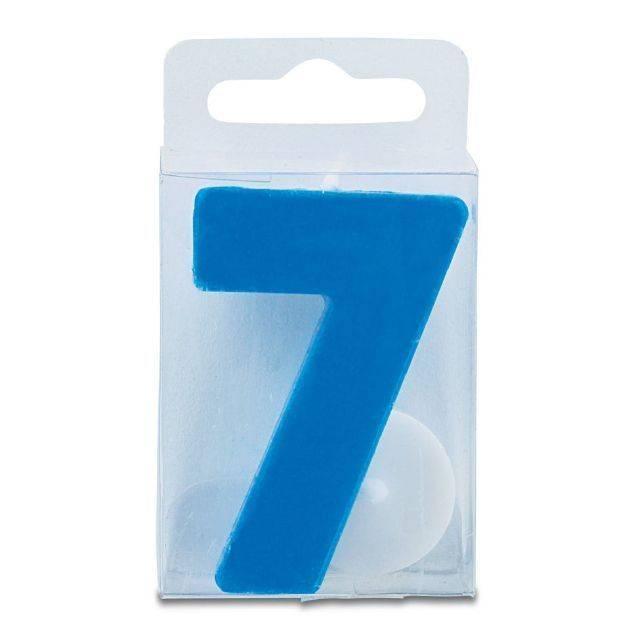 Svíčka ve tvaru číslice 7 - mini, modrá Stadter