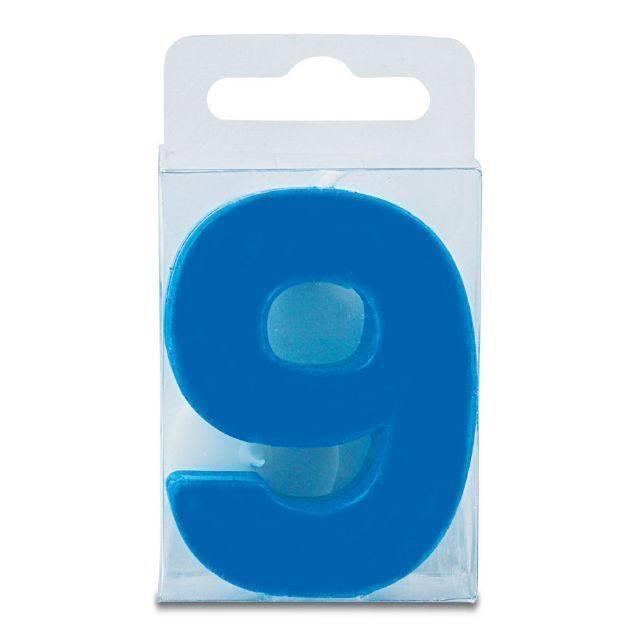 Svíčka ve tvaru číslice 9 - mini, modrá Stadter