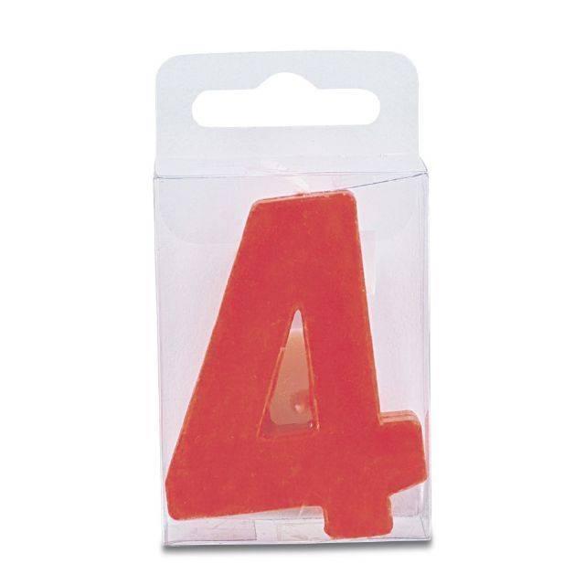 Svíčka ve tvaru číslice 4 - mini, červená Stadter