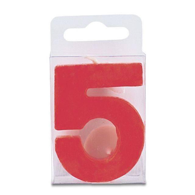 Svíčka ve tvaru číslice 5 - mini, červená Stadter