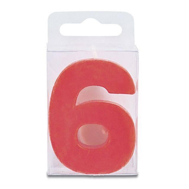 Svíčka ve tvaru číslice 6 - mini, červená Stadter