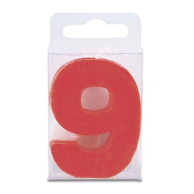 Svíčka ve tvaru číslice 9 - mini, červená Stadter