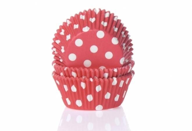 Papírový košíček na muffiny červený puntíkovaný 50ks House of Marie