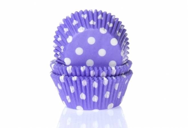 Papírový košíček na muffiny fialový puntíkovaný 50ks House of Marie