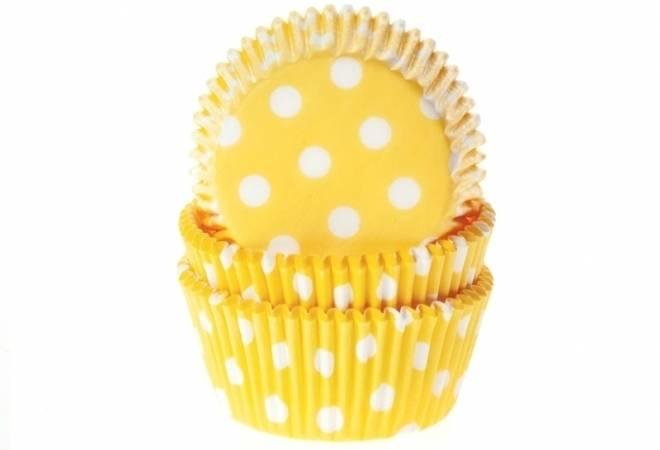 Košíček na muffiny žlutý puntíkovaný 50ks House of Marie