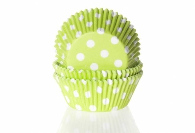 Papírový košíček na muffiny zelený puntíkovaný 50ks House of Marie