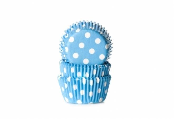 Cukrářský košíček mini světle modrý puntíkovaný 60ks House of Marie