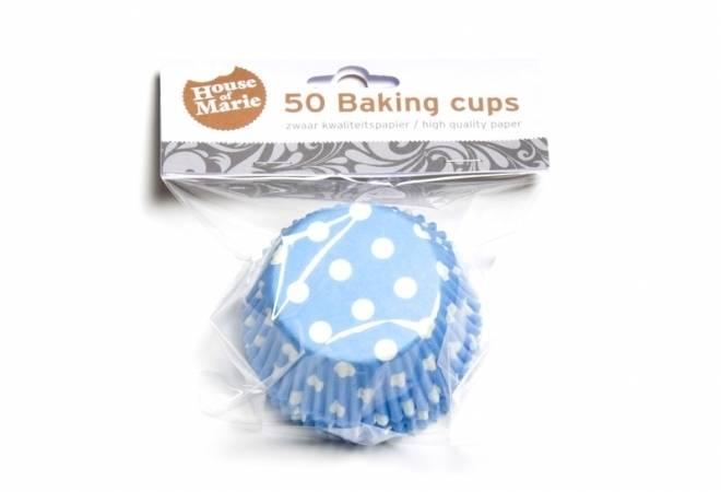 Papírový košíček na muffiny modrý puntíkovaný 50ks House of Marie