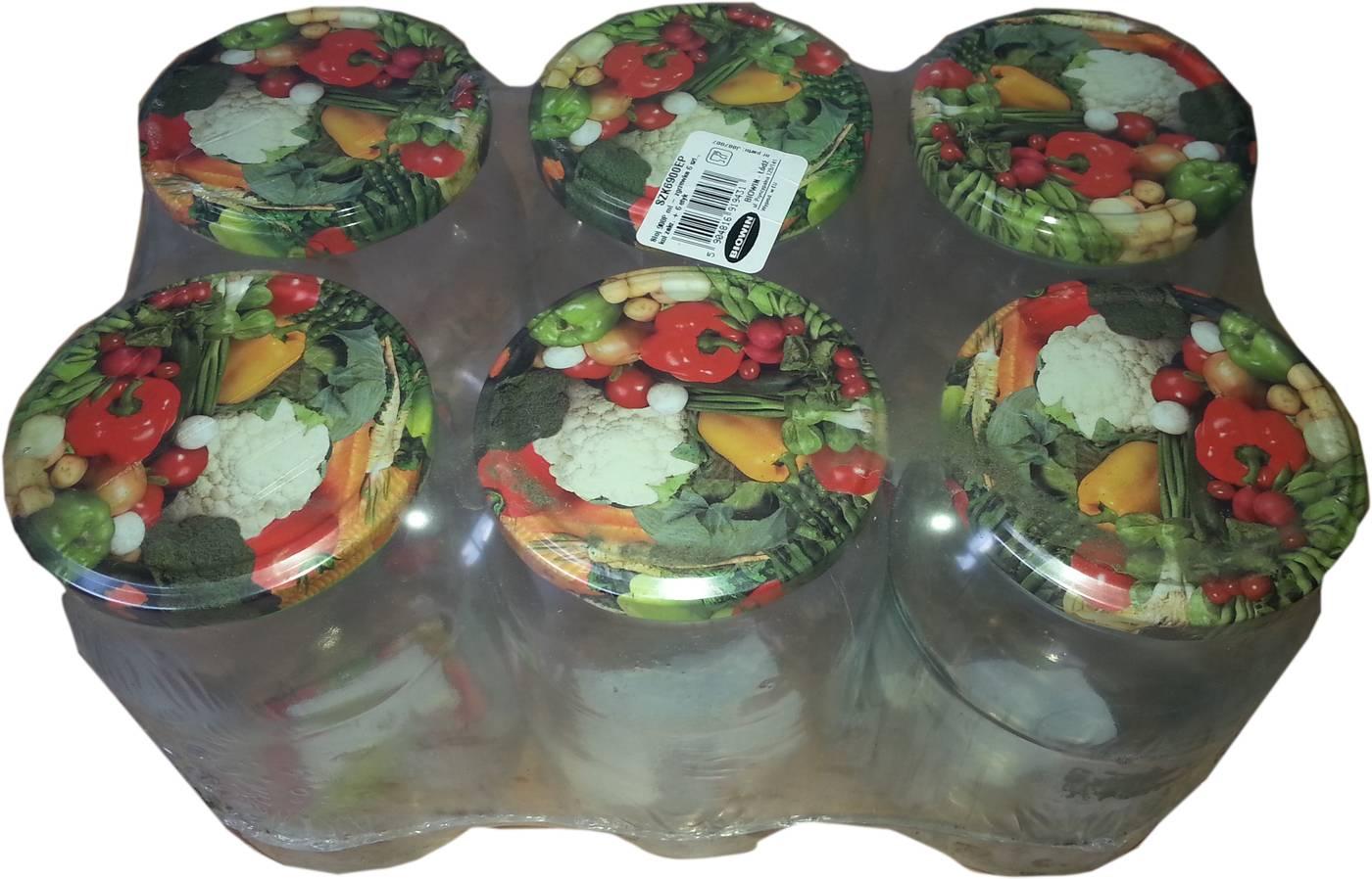 Sklenice s víčkem 900ml - 6ks motiv ovoce/zelenina - BIOWIN