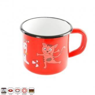 Hrnek smalt 12cm - červený, dekor kočka - Orion