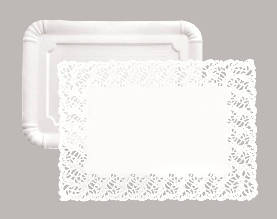 Papírový podnos obdélník s krajskou set 30x39cm – 5ks - Ibili