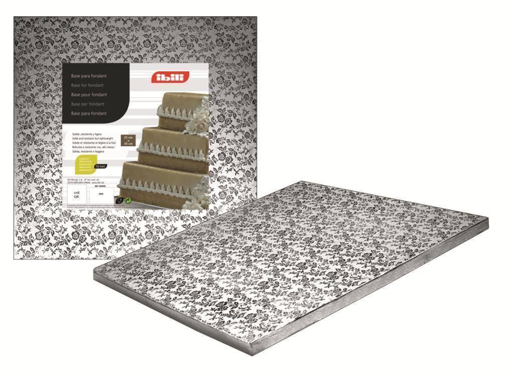 Podložka pod dort čtvercová stříbrná 20x20cm - Ibili