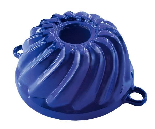 Litinová forma na bábovku malá - smaltovaná modrá - Smalt