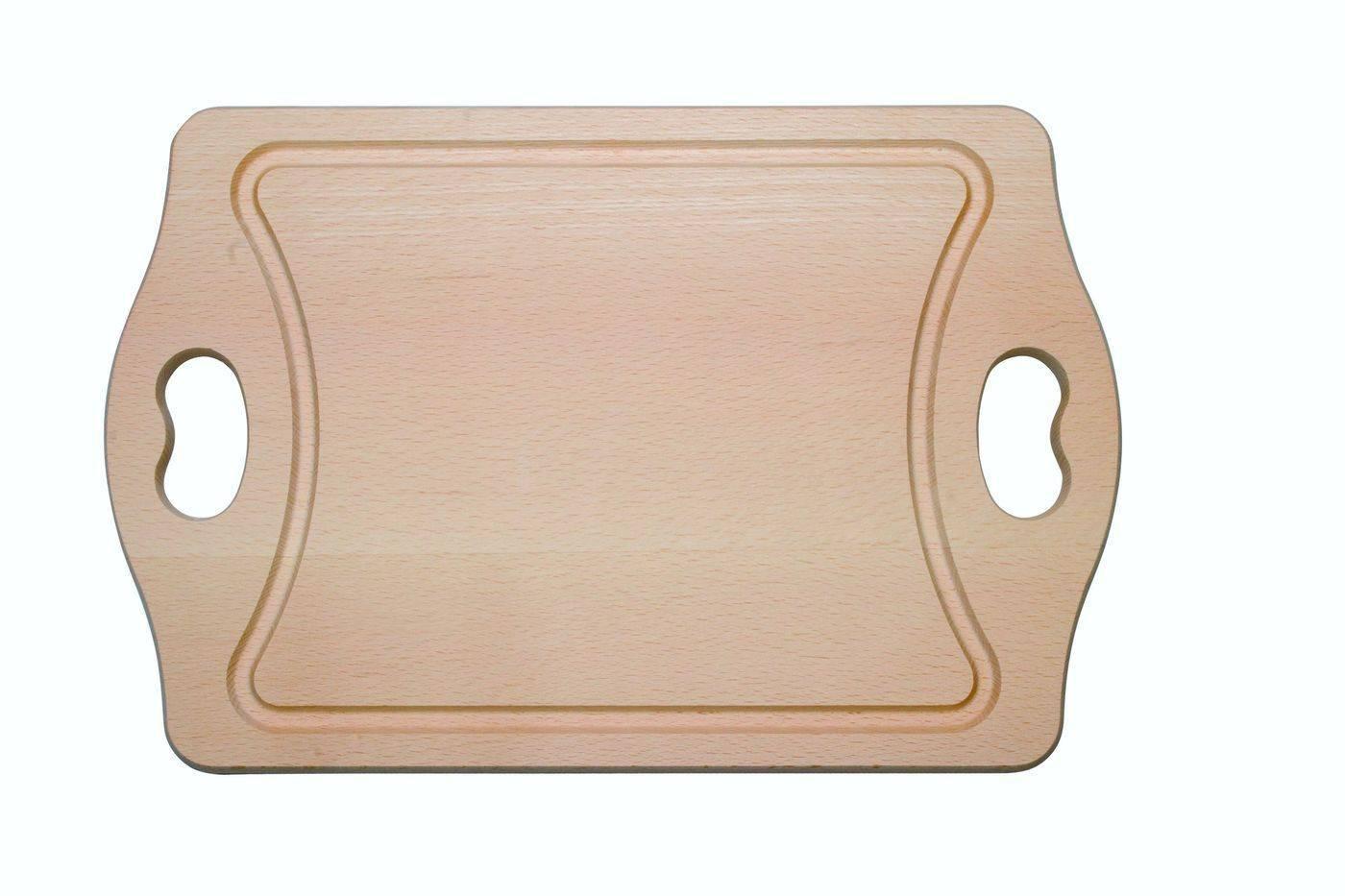 Deska na maso s dvěma úchyty, s drážkou, 400 x 260 x 20 mm - Dřevovýroba Otradov