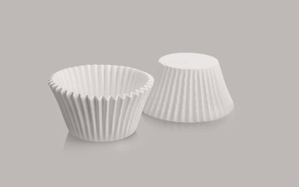 Cukrářský košíček kulatý bílý set 7x3,5cm – 50ks - Ibili