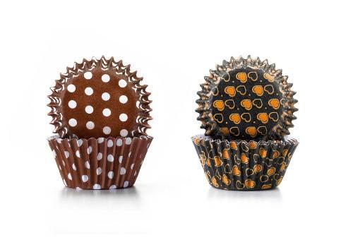Cukrářské košíčky - hnědá srdíčka a puntíky 100ks - Ibili