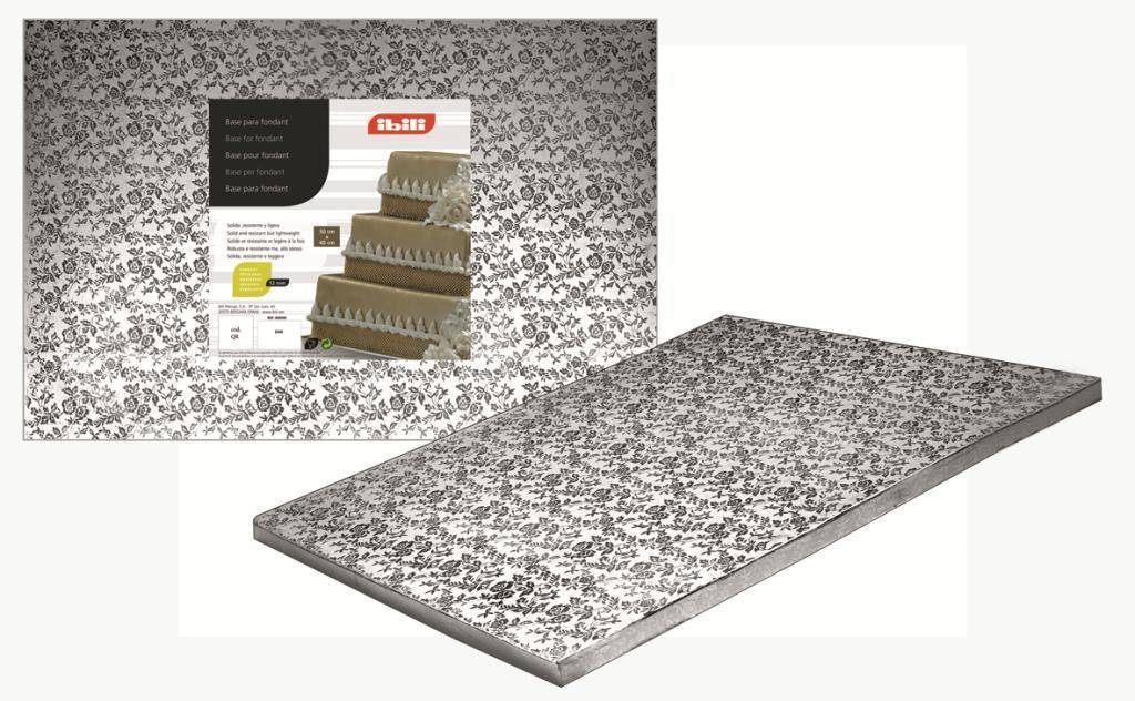 Podložka pod dort čtvercová stříbrná 25x25cm - Ibili