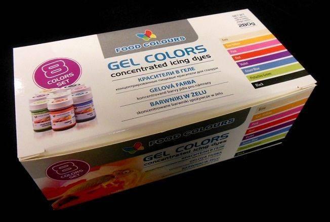 Sada gelových barev (8 ks) - Food Colours