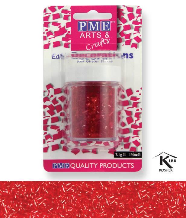 Sypání Glitter Flakes - červené - PME