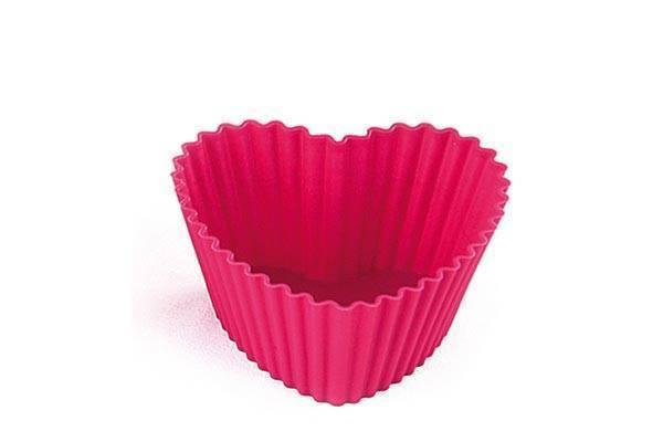 Silikonová forma na muffiny 6 ks – srdce - Silikomart