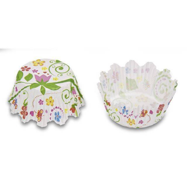 Papírové pečicí formičky - potisk květinová zahrada - Stadter