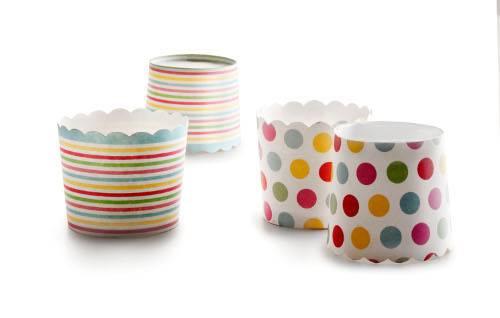 Papírové košíčky 6 x 5,5cm - proužky a puntíky - Ibili