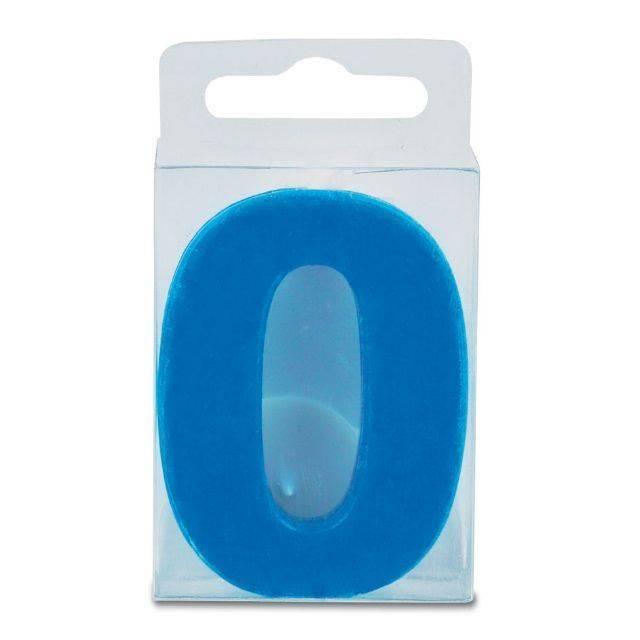 Svíčka ve tvaru číslice 0 - mini, modrá - Stadter