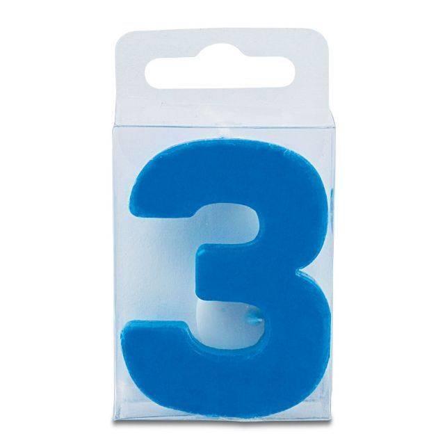 Svíčka ve tvaru číslice 3 - mini, modrá - Stadter