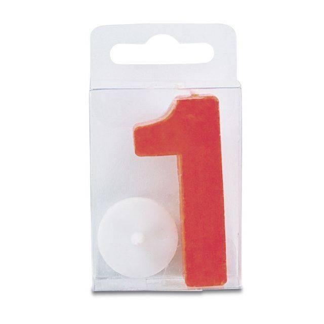 Svíčka ve tvaru číslice 1 - mini, červená - Stadter