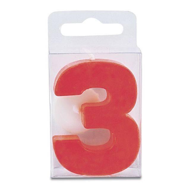 Svíčka ve tvaru číslice 3 - mini, červená - Stadter