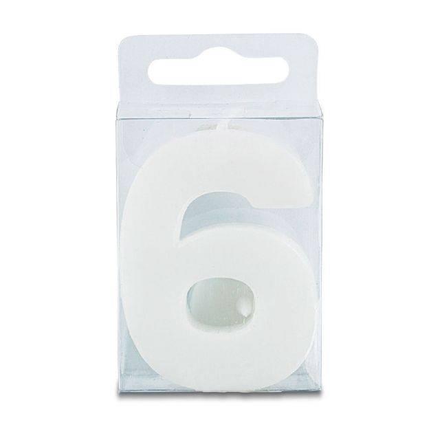 Svíčka ve tvaru číslice 6 - mini, bílá - Stadter