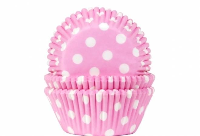 Košíčky na muffiny 50ks růžové s bílými puntíky - House of Marie