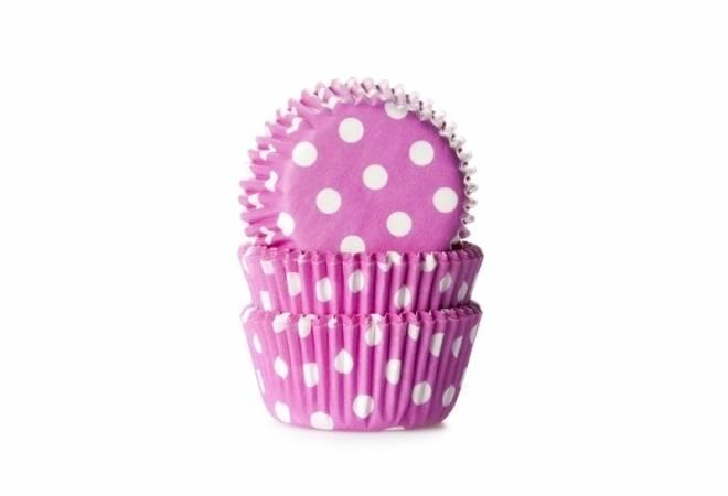 Košíčky na muffiny mini 60ks fialové s bílými puntíky - House of Marie