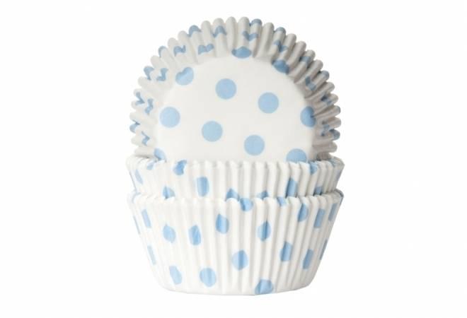 Papírový košíček na muffiny puntíky světle modré 50ks - House of Marie