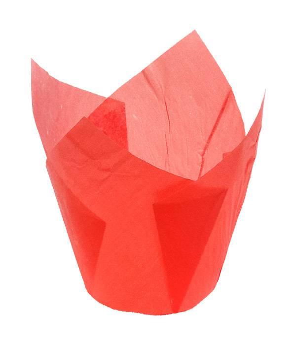 Košíčky papírové tulipán 12 ks - červené - OzdobDort.cz