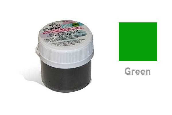 Prachová barva vodou rozpustná 5g - zelená - Silikomart