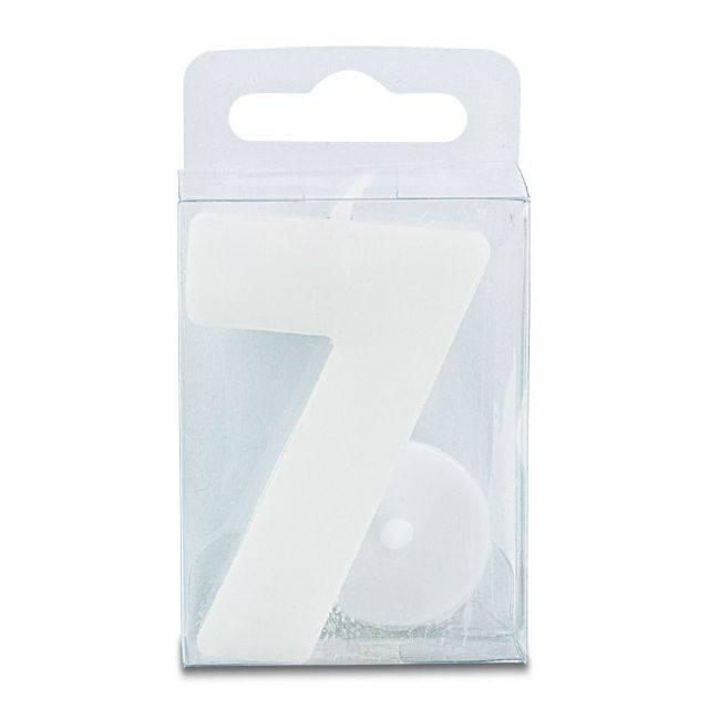 Svíčka ve tvaru číslice 7 - mini, bílá - Stadter