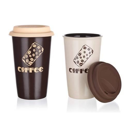 Keramický hrnek na kávu se silikonovým víčkem 450ml - BANQUET