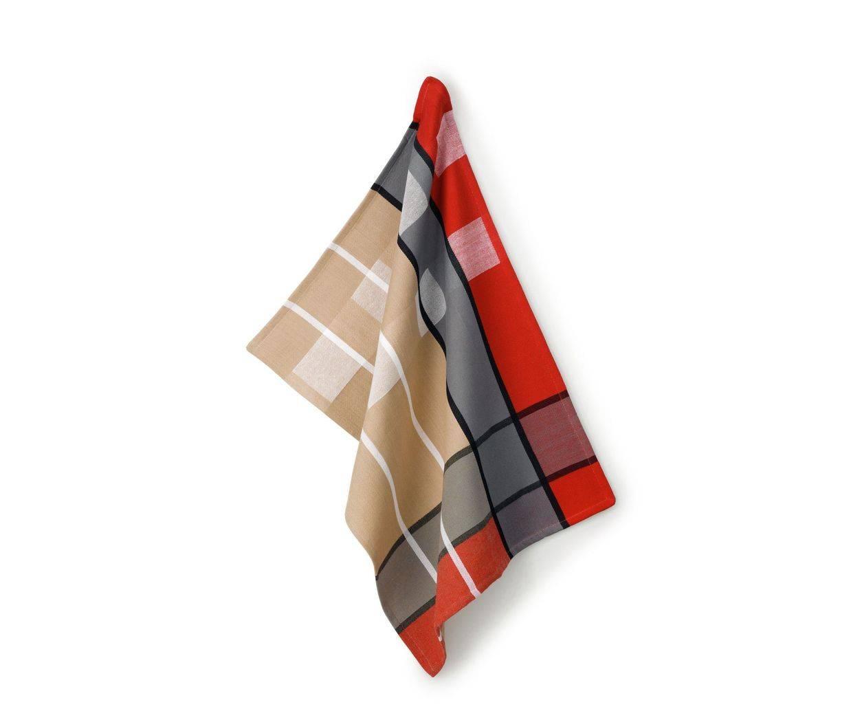 Utěrka TABEA 100% bavlna, dekor kostka, béžová / červená / šedá 50x70cm KL-11732 - Kela
