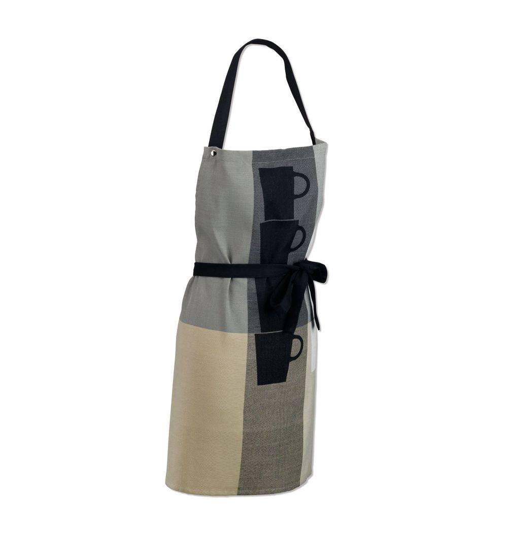Zástěra kuchyňská TABEA 100% bavlna, dekor hrnek, béžová / šedá 67x8 - Kela