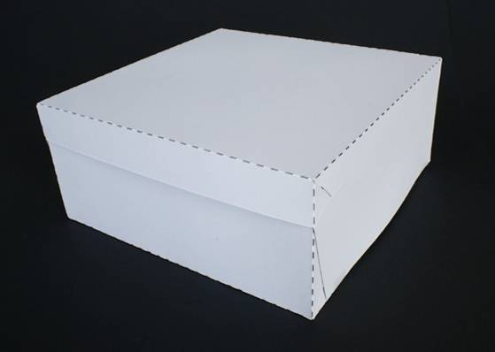 Dortová krabice pevná bílá 28 x 28 x 10cm -