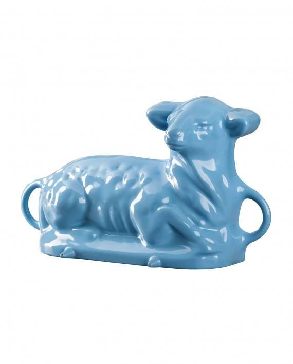 Beránek - forma na pečení - litina/smalt světle modrý - Smalt