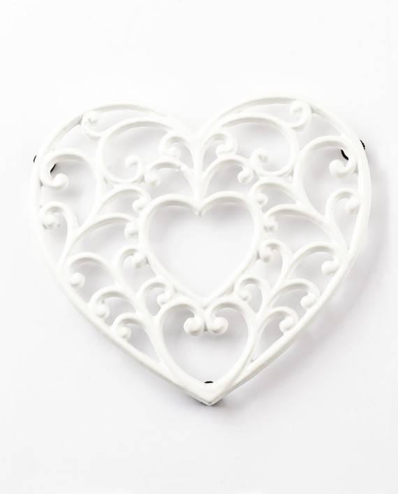 Podložka pod hrnec - smaltovaná srdce - bílé - Smalt